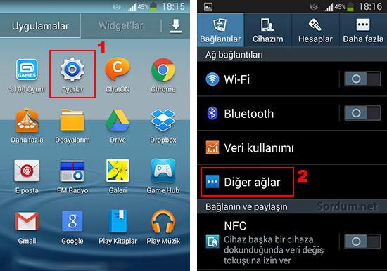 Samsung galaxy s3 te internet paylaşımı