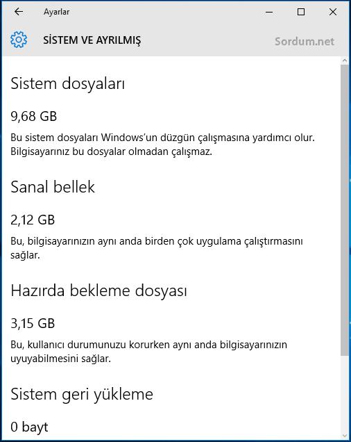 Windows 10 Sistem ve ayrılmış