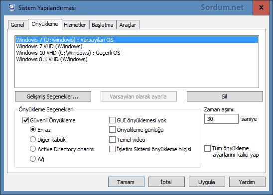 Windows 10 sistem yapılandırması