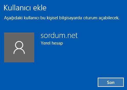 Windows 10 a yeni kullanıcı eklendi