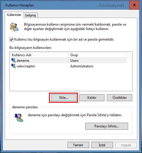 Windows 10 a kullanıcı ekle
