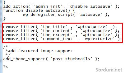 wordpress çift tırnak düzeltmesi