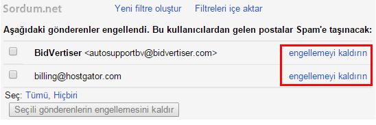 Gmail göndereni engellemyi kaldırma