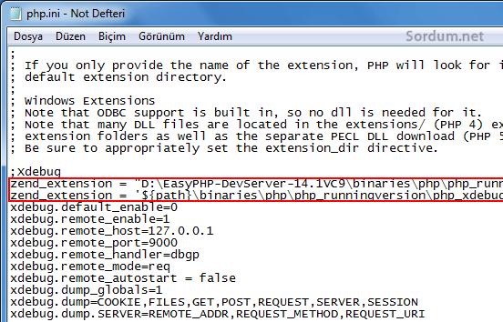 ion cube hatasında php.ini ye yeni satır ilavesi
