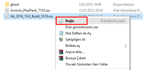 Windows 10 sağ tuş menüsünde bağla