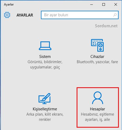 windows 10 hesaplar