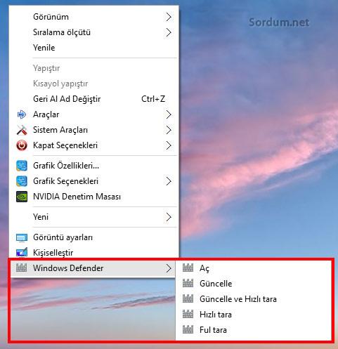 Windows 10 sağ tuşa Defende ekleme