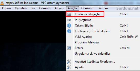VLC de etki ve süzgeçler