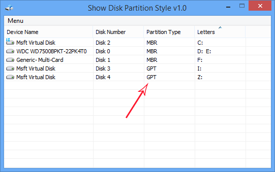 Show disk partititon style