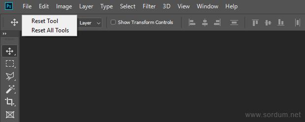 Photoshop tüm araçları sıfırla