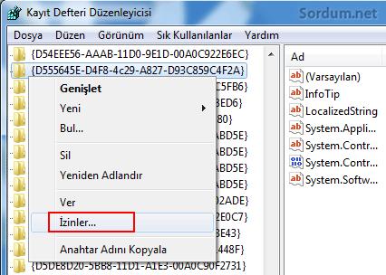 registry izinler