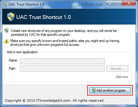 uac trust_ shortcut program ekleme