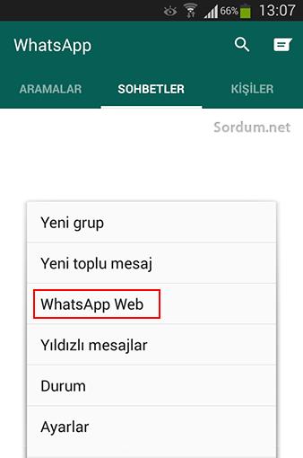 whatsapp masaustunu aktiflestirme