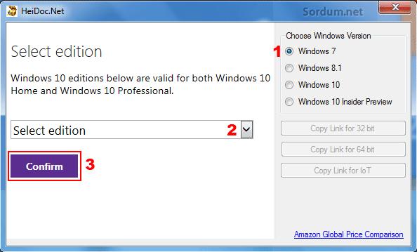 windows ISO downloader ile Windows indirelim