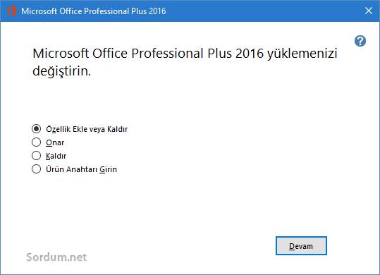 office özellik ekle kaldır