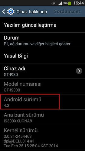 Samsung android sürümü