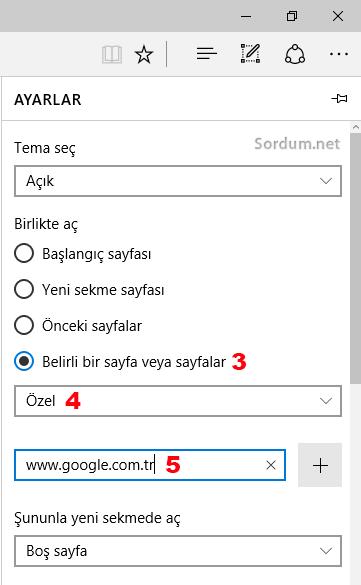 EDGE açılış sayfasını değiştirme