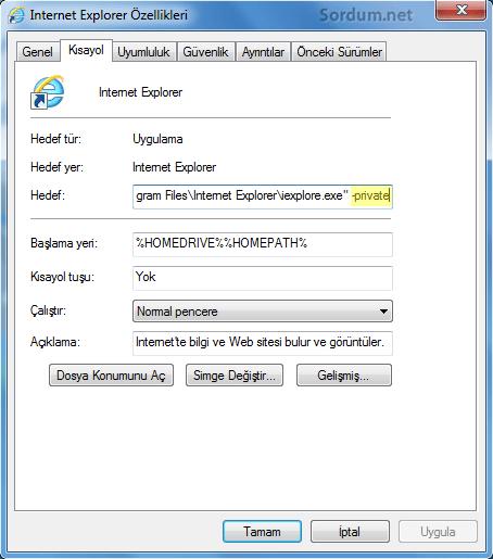internet explorer gizlilik modu