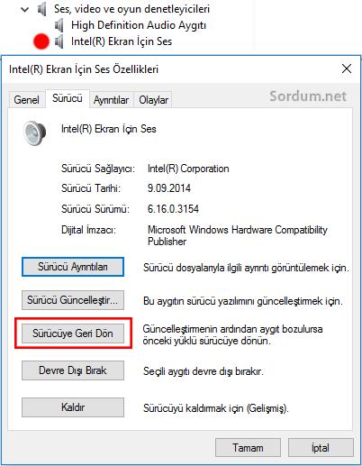 Windows 10 da eski sürücüye geri dönmek