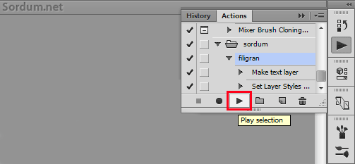 Photoshop action play selection