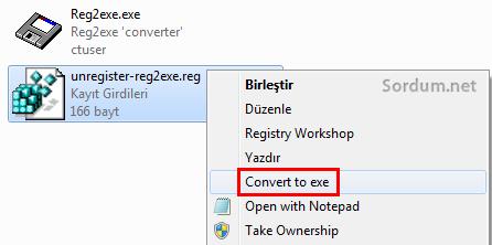 Sağ tuşta convert to exe