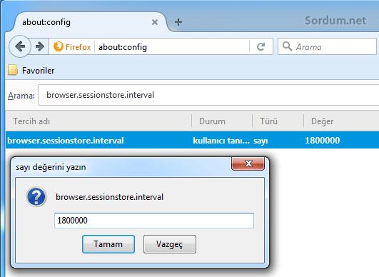 Firefox oturum kaydetme