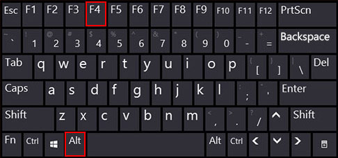 klavyedeki alt ve F4 tuşları