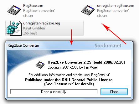 reg2exe ile convert işlemi başarılı