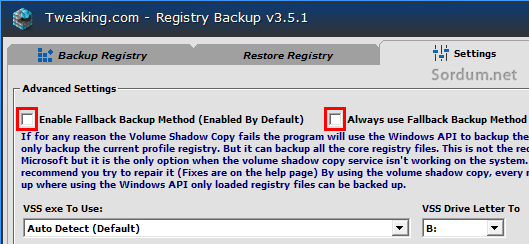 Vss metodu ile registry yedeklemek