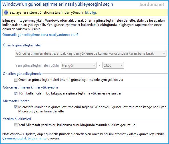Windows güncelleme ayarları değişmiyor