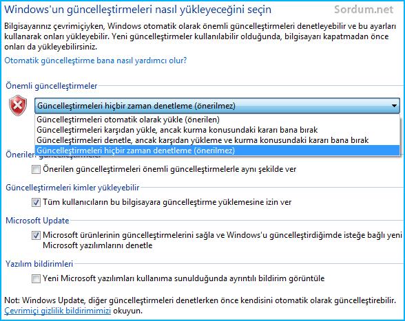 Windows güncelleme ayarları düzeldi