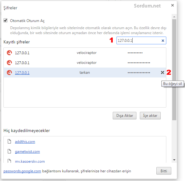 Chrome kayıtlı şifreleri silme