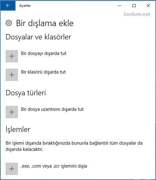 windows defendere dışlama ekle