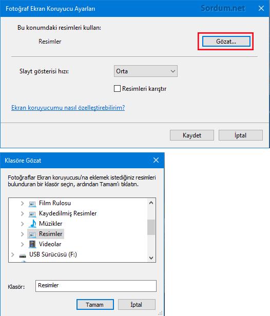 Ekran koruyucu ayarları resim seç
