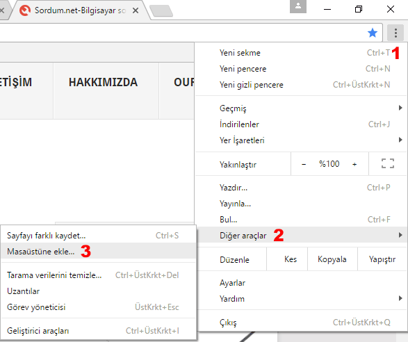 Masaüstüne web kısayolu ekleme