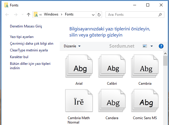 Windows 10 font klasörü