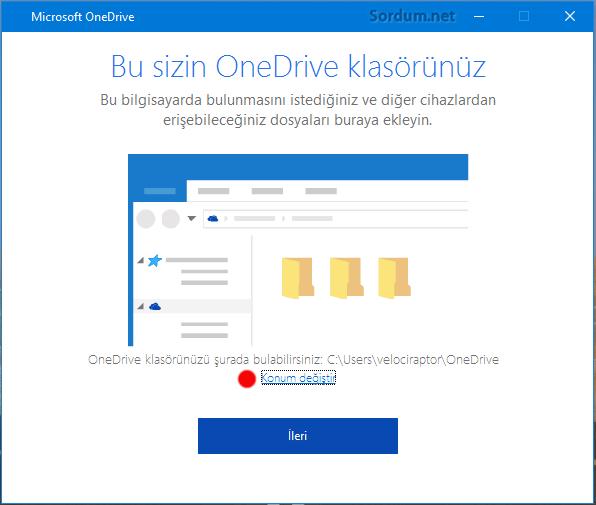 OneDrive konum değiştir linki