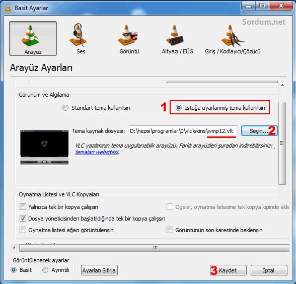 VLC tema kullan ayarı