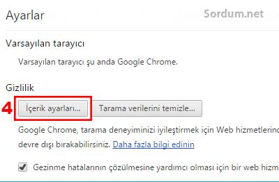 Chrome içerik ayarları