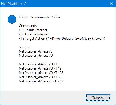 Net Disabler Cmd parameters