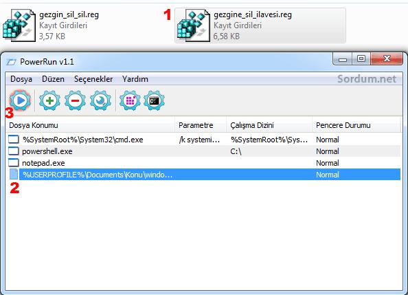 powerrunile registry kaydı çalıştırmak