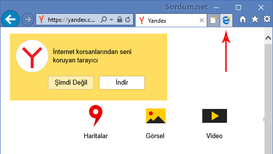 İnternet explorerdeki EDGE ikonu
