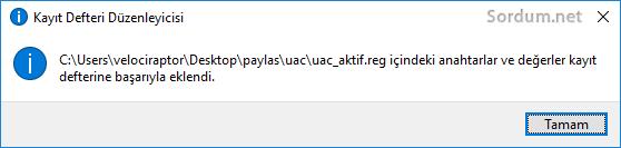 Registry ile UAC kapat