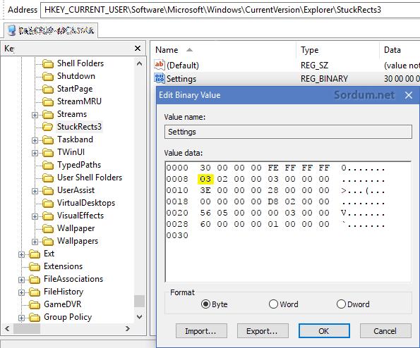 Görev çubuğu otomatik gizlensin registry ayarı