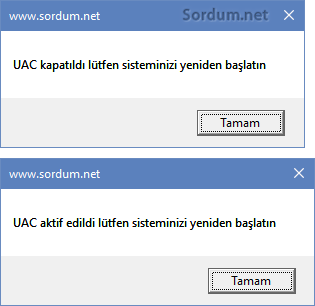 VBS ile UAC kapatma