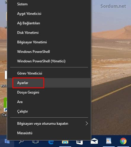 Windows x menüsü ayarlar