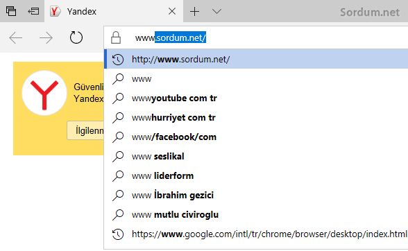 Microsoft EDGE site önerileri