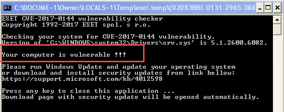 eset EternalBlue exploit