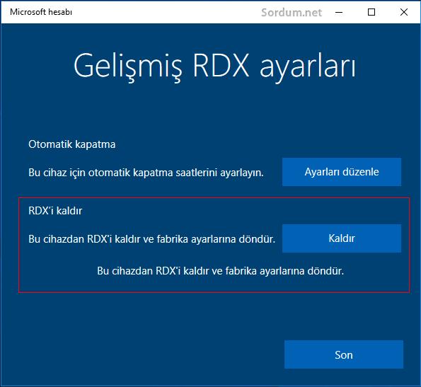 Gelişmiş RDX ayarları