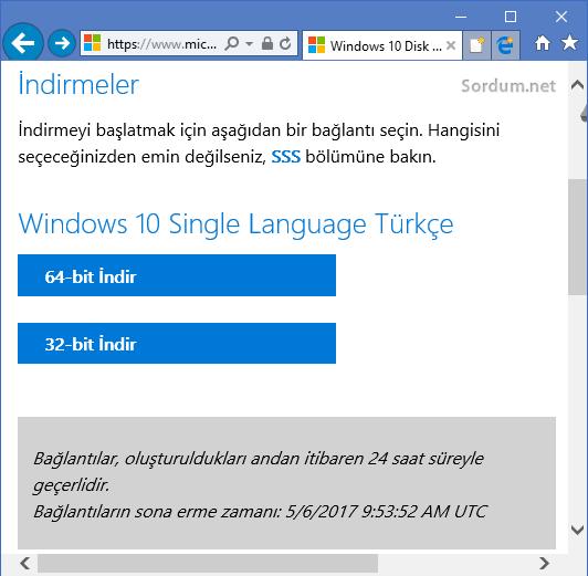 Windows ISO indirme linkleri